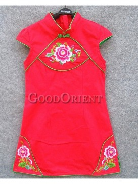 Red Cotton Peony Embroidery Dress
