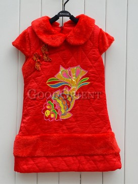 Red Clothe of Brocade with frog button