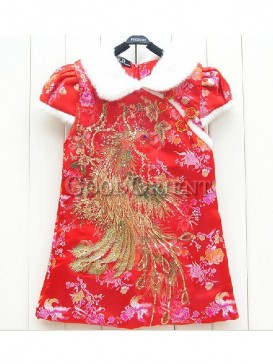 Red Cotton Poenix Pattern Vest Dress