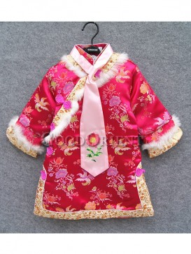 Rose red brocade clothe for girls
