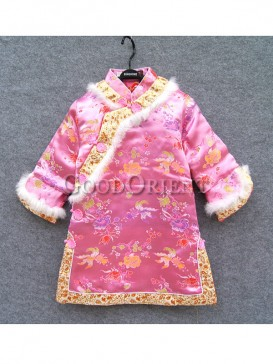 Pink Brocade Flower & Fish Embroidery Gege Clothes