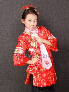 Red Brocade Flower Embroidery Gege Clothes
