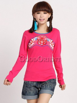 Rose Red Chinese ethnic blouse with embroidery design