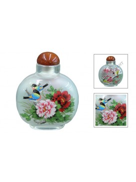 Sparrow and Peony Snuff Bottle