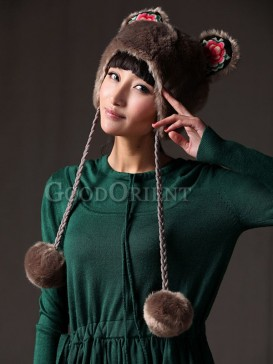 Chinese Ethnic Coffee Fleece Balls Hat