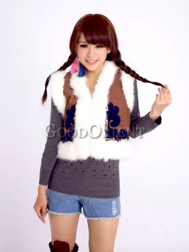 Coffee Ethnic Chinese embroidery vest