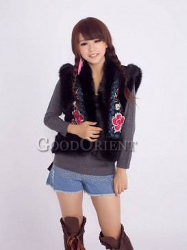 Red and Black Chinese vests with embroidery design