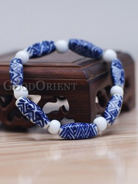 Blue and white handcrafted porcelain bracelet