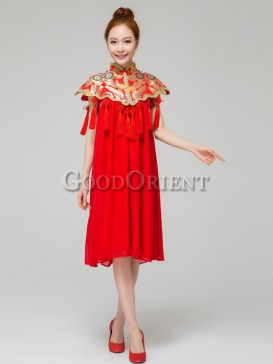 Chinese Red Tassel Style Women Dress