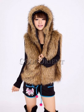 Brown Hooded polyester fur vest