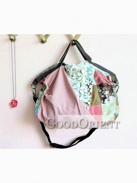 Handbag with lace and patchwork design