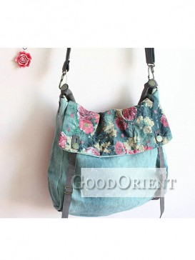 Green handbag with flower prints design