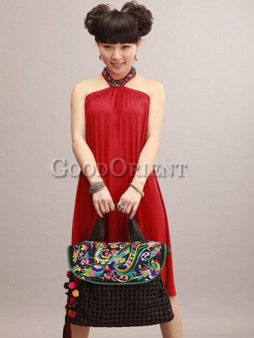Handcrafted ethnic phoenix embroidered bag