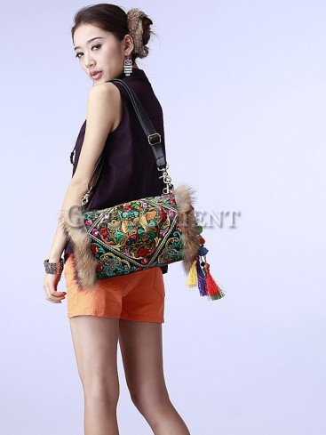 Handcrafted ethnic flower embroidered bag