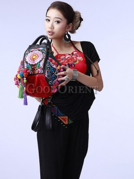 Double-sided embroidery bag with tassel decoration
