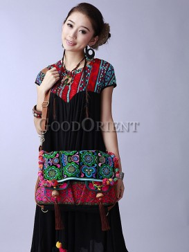 Ethnic bag with flower embroidery design
