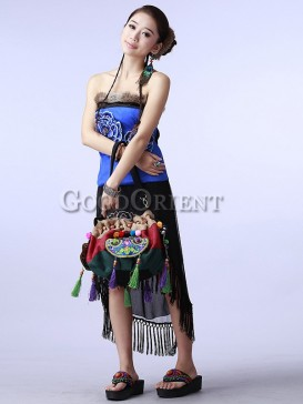Embroidered ethnic bag with tassel design