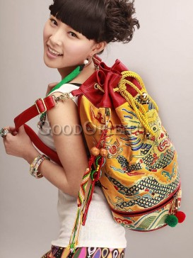 Flying Dragon Embroidery Ethnic Woman's Backpack