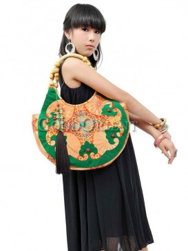 Ethnic handbag with blessing bat design