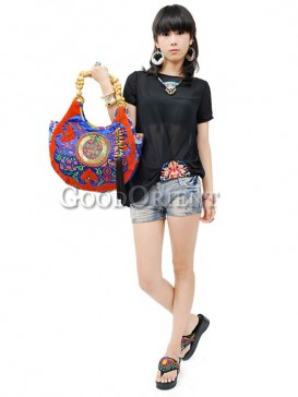 Auspicious Clouds Prints with Flower Embroidery Handbag