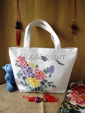 Peony, Red Plum Blossom & Butterfly Painting Canvas Handbag