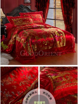 Red China style weddings of bedding