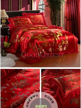 China Red Double Happiness Wedding Bedding Set