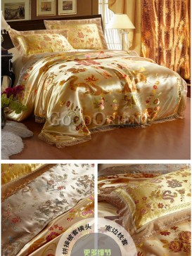 Bedding with golden dragon and colorful phoenix design