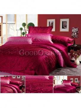 Red Chinese style bedding with rose pattern design