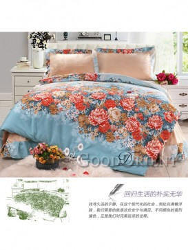 Vibrant bedding with flower prints and oriental design
