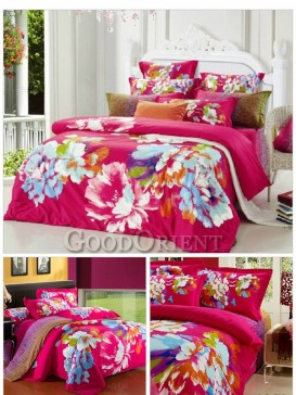 Elegant Rose red with blue Chinese Bedding