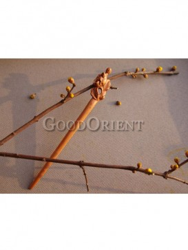 Lotus Root Design Mahogany Hair Pin