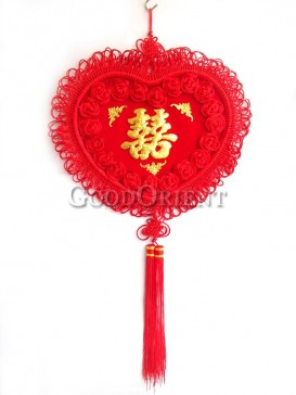 Heart Shaped Double Happiness Chinese Knot with Roses