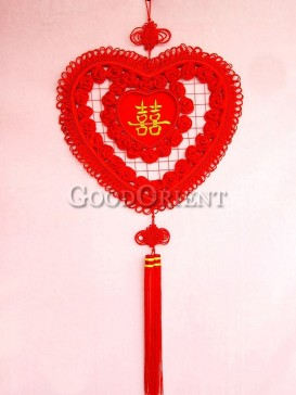 Double Happiness Heart Shaped Chinese Knot with Roses