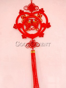 handmade heart shaped double fishes Chinese knot