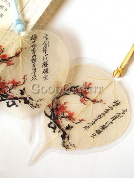 Leaf bookmark with plum blossom design