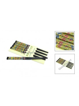 Colorized Bamboo Chopsticks Set---Blue and Red Rose