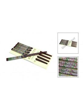 Colorized Bamboo Chopsticks Set---Floral Icon