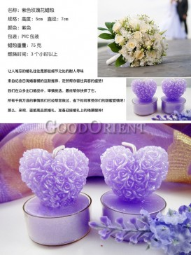 Purple candle with heart shape and roses design