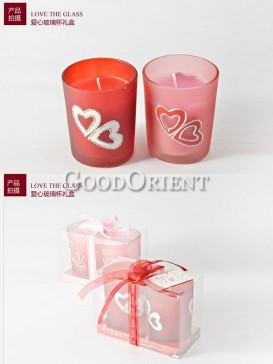 Wedding jar candles with heart design