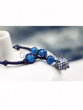 Chinese ethnic fashion blue and white porcelain bracelet