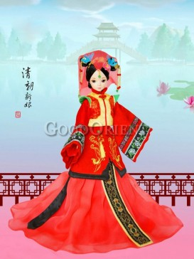 China style dolls of Chinese bride of Qing dynasty