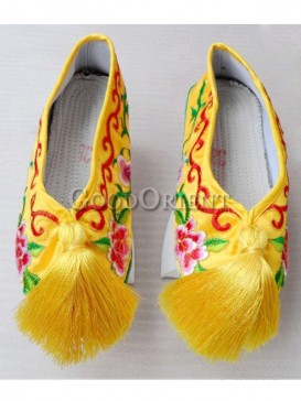 Elegance Chinese flower pot shoe of Qing Dynasty