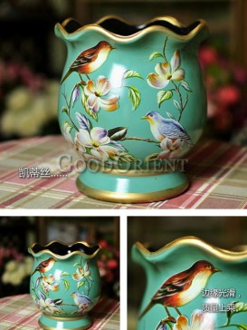 European Style Hand Painted Flower & Bird Vase