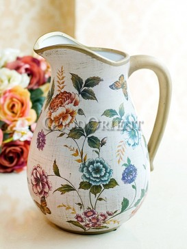Hand painted rose and butterfly pattern vintage vase