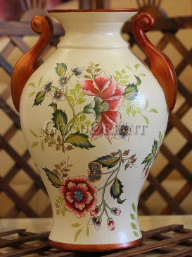 Home decor vase with hand painted flower design