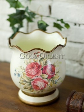 Vase interior design with hand painted flower