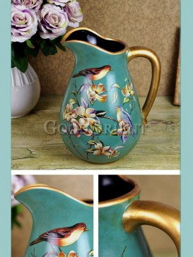 Vase interior decoration with bird pattern