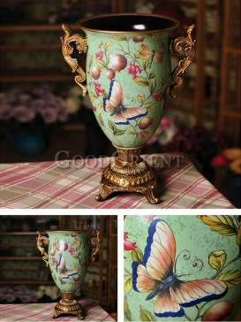 Hand painted butterfly design vase