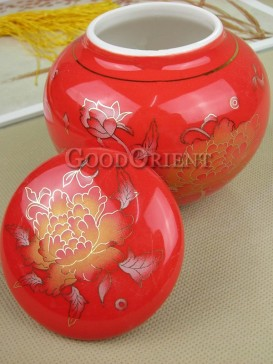 Chinese red with peony pattern tea caddy